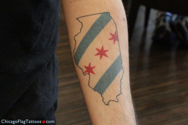 Hasani Illinois-Chicago Flag Tattoo