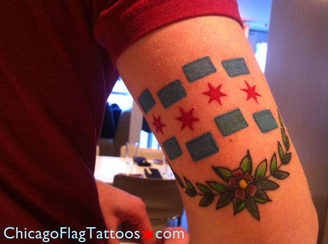Closeup of Topher's Chicago Flag tattoo