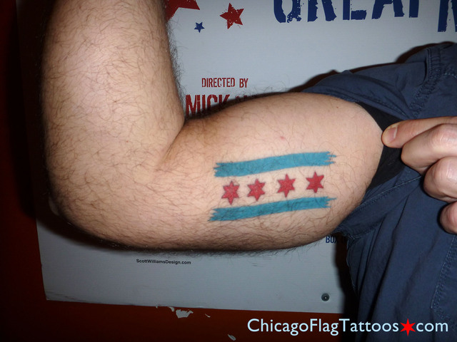 Tim Chidester Chicago Flag tattoo