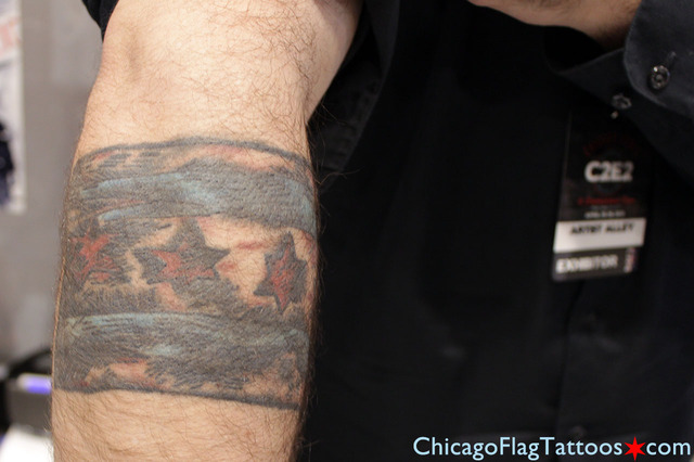 John Airo Chicago flag tattoo closeup