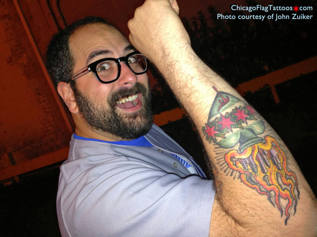 John Zuiker Chicago flag tattoo