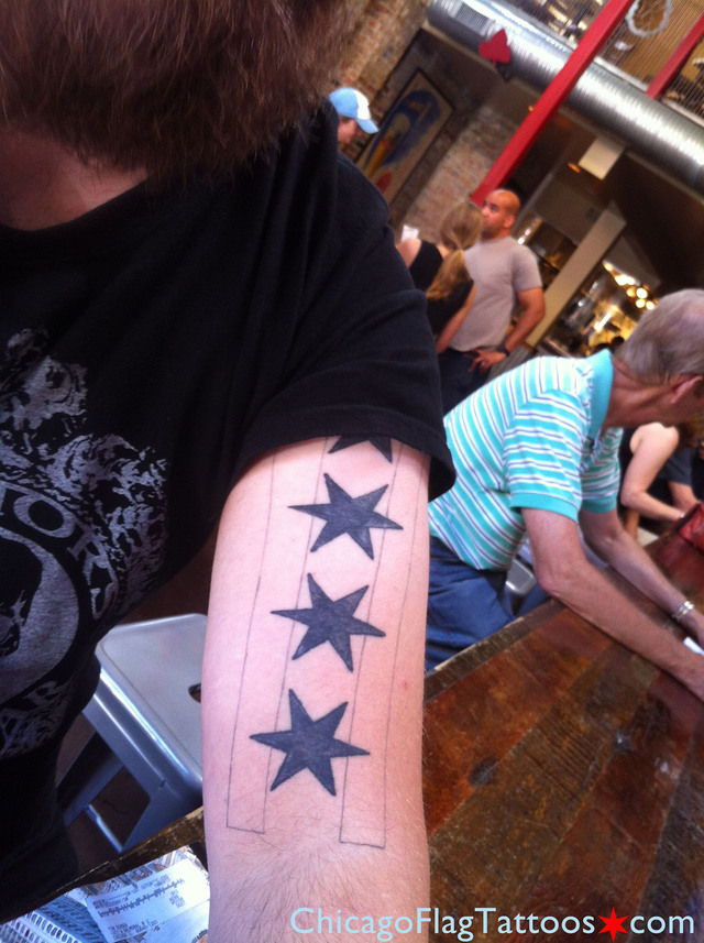Tim Schoen's Chicago flag tattoo