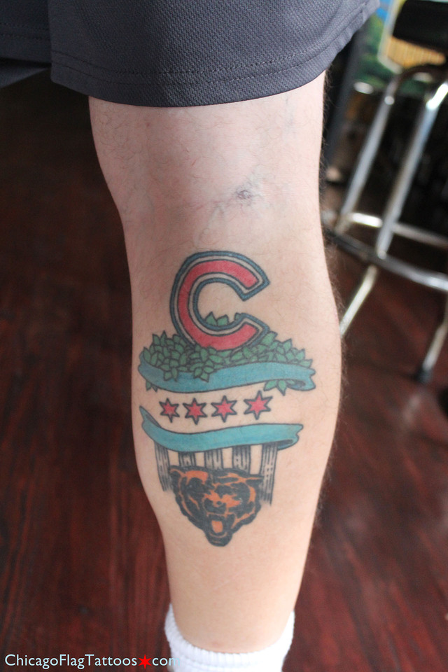 Mike Feldheim - Cubs, Bears, Chicago Flag Tattoo