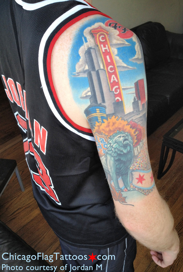 Chicago Flag Blackhawks Tattoo