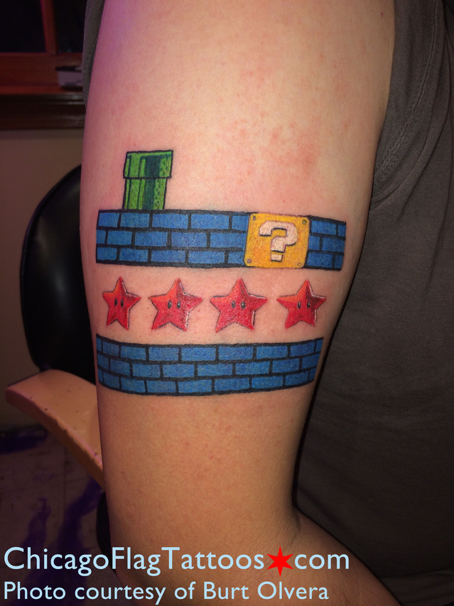 Burt Olvera Chicago Flag and Mario Nintendo tattoo