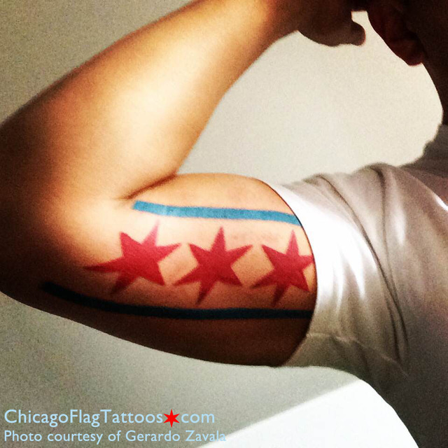 Gerardo Zavala Chicago flag tattoo
