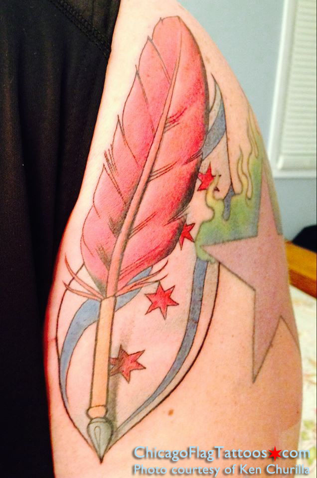 Ken Churilla Chicago Flag tattoo