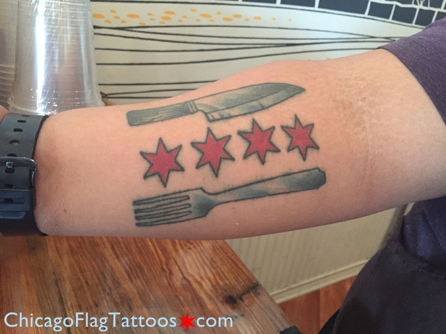 Joe Knife and Fork Chicago Flag Tattoo
