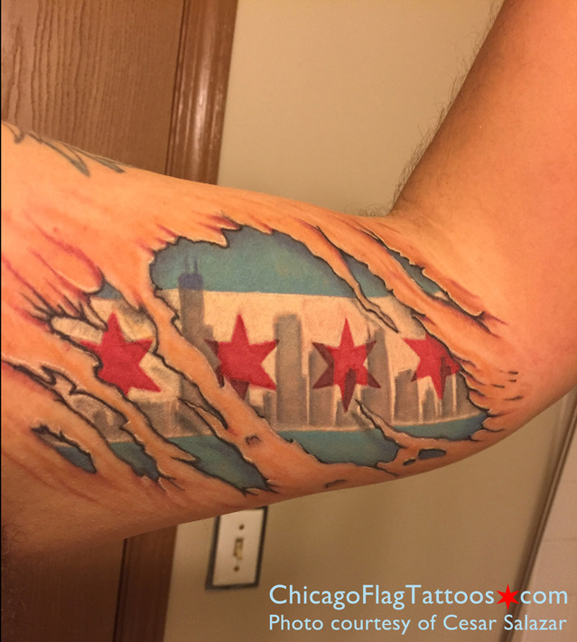 Cesar Salazar Chicago Flag Tattoo