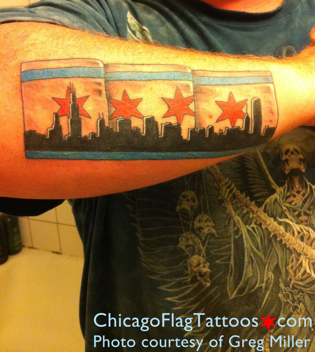 Greg Miller Chicago Flag and Skyline Tattoo