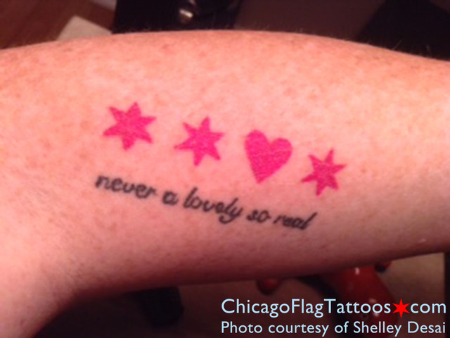 Shelley Desai Chicago flag tattoo
