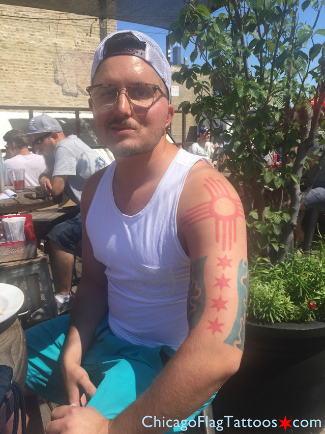 Chris Chicago Flag and New Mexico Sun tattoo
