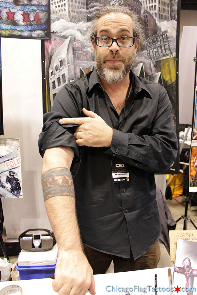John Airo Chicago flag tattoo