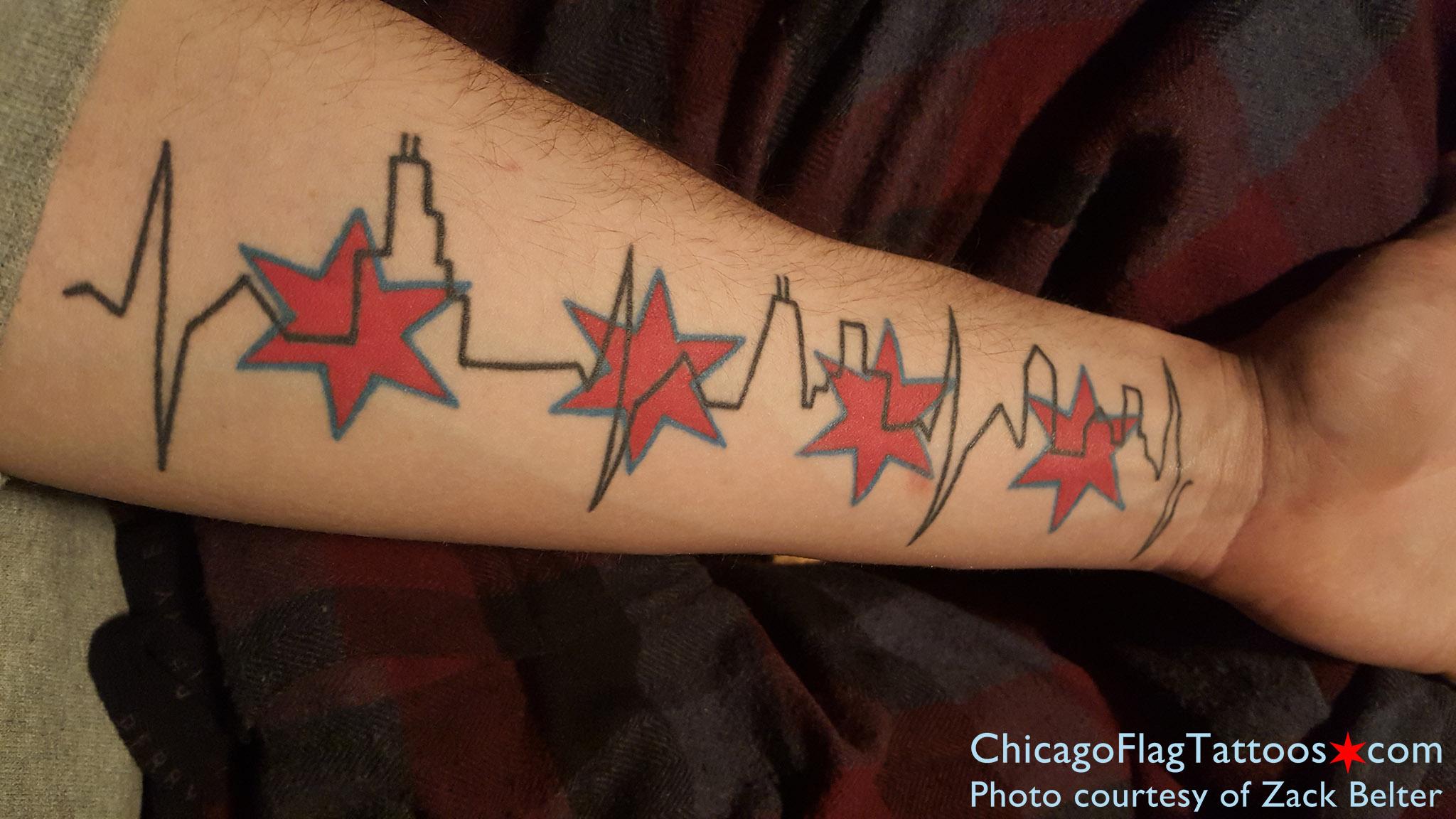 Chicago Flag Tattoo Black